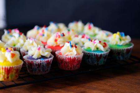 St. Patrick's Day Mini Rainbow Cupcakes