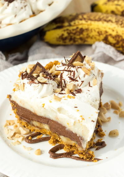 Peanut Butter Chocolate Banana Cream Pie