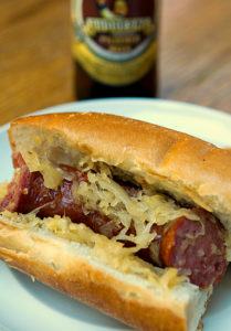 Beer and Brown Sugar Polish Sausage with Sauerkraut