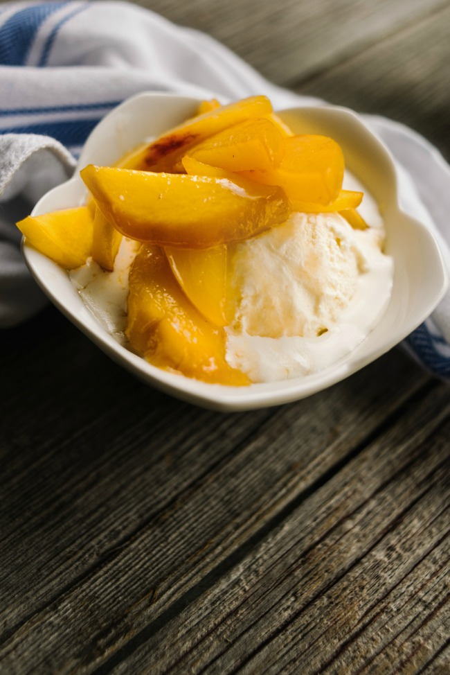 Sauteed Peaches with Ice Cream