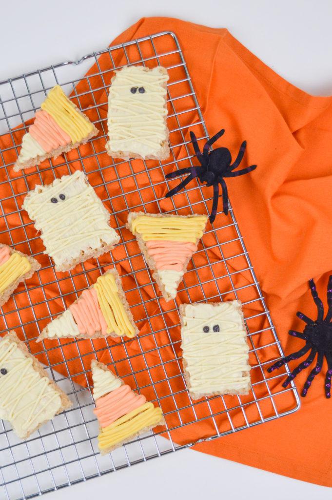 Halloween Rice Krispie Treats: Mummies & Candy Corn