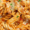 Baked fusilli pasta with chicken and cheese