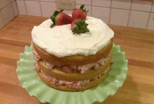 Strawberry Macaroon Layer Cake