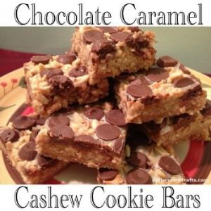Chocolate Caramel Cashew Cookie Bars