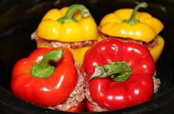 Easy Beef and Rice Stuffed Bell Peppers For Four