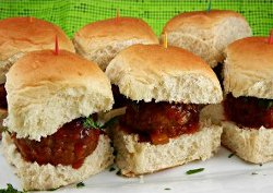 Slow Cooker Meatball Sliders with Peach Chipotle BBQ Sauce