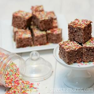Chocolate Funfettu Cake Batter Rice Krispie Treats