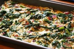Red Russian Kale and Onion Breakfast Casserole