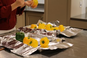 Bell Peppers on Baking Sheet