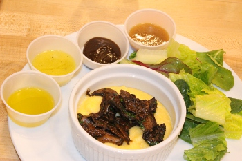 Plated salad with dressings