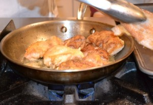 Transfer cooked chicken