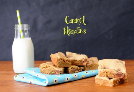 Rolo-Stuffed Caramel Blondies