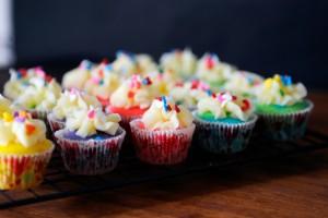 Mini Rainbow Cupcakes