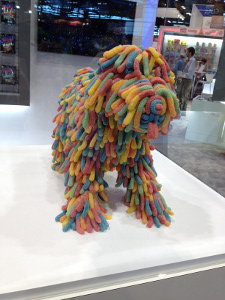 An adorable dog made out of Trolli Gummy Worms
