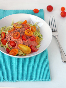 Raw Zucchini Pasta with Creamy Tomato Sauce