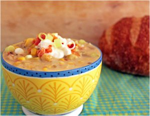 Slow Cooker Summer Squash and Corn Chowder