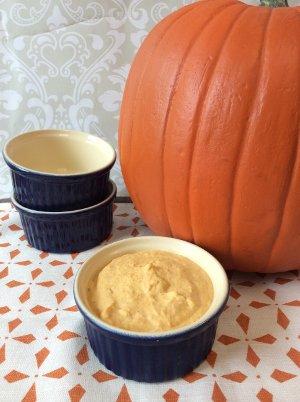 Pumpkin Mousse in Blue Ramekin