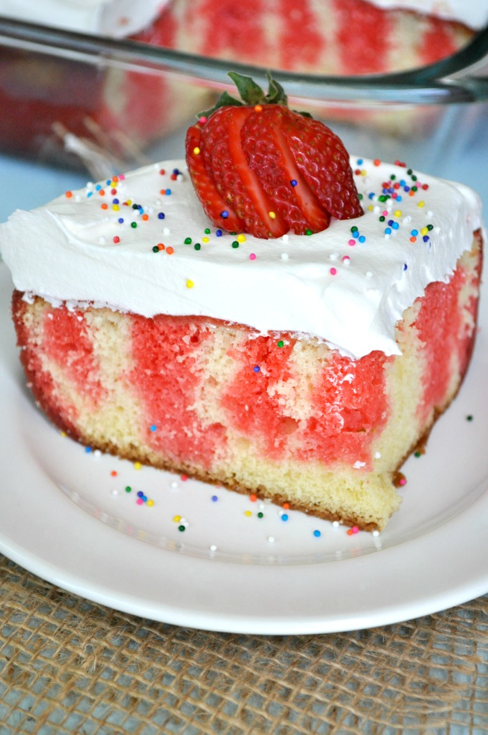 Strawberry Jello Poke Cake 6
