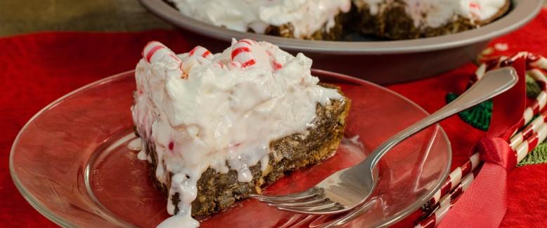 Fudgy Chocolate Peppermint Pie