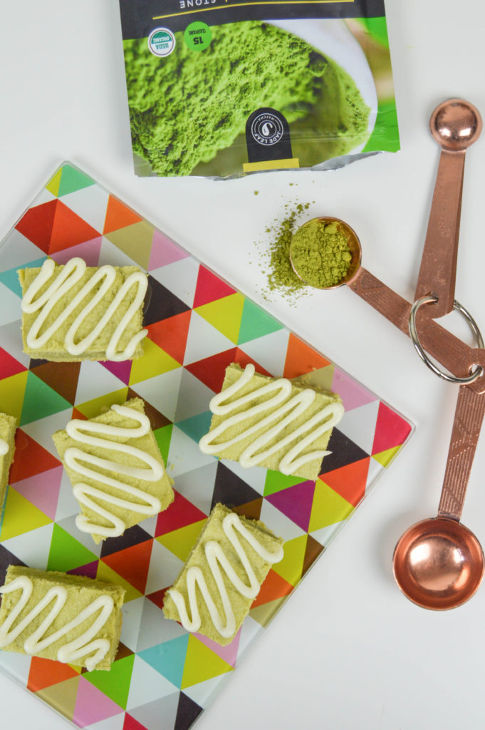 Green Tea Latte Bars with Cream Cheese Drizzle   Revamperate