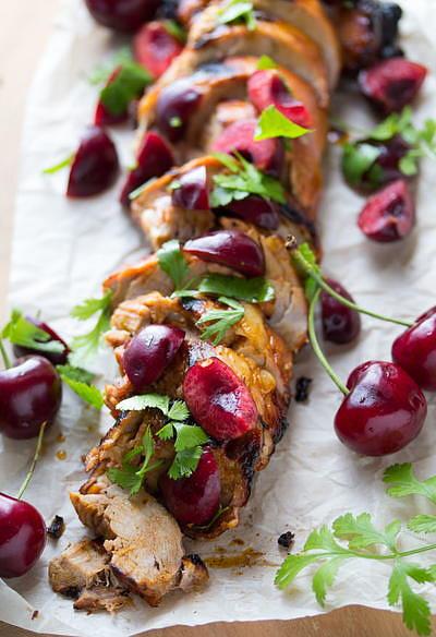 Grilled Chipotle Pork Tenderloin with Fresh Cherry Salsa