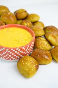 Homemade Pretzel Bites with Cheese Sauce