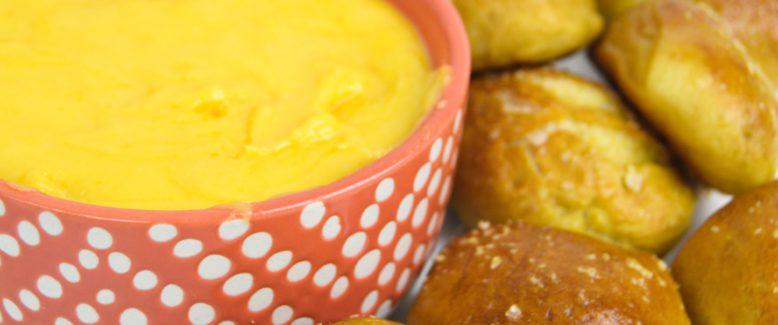 Homemade Pretzel Bites with Cheese Sauce