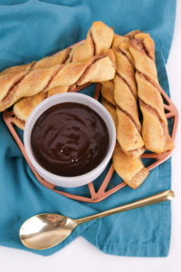 Crescent Roll Cinnamon Twists with Chocolate Dipping Sauce
