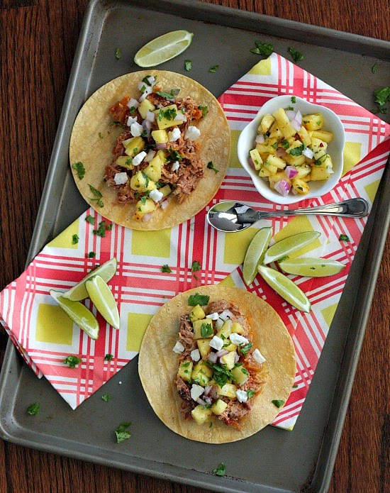 Slow Cooker Pineapple Pork Tacos – pictured